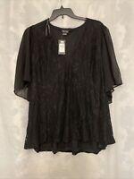 City Chic Women's plus size black top Blouse lace Size XXL/24 NEW NWT $75