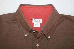 NWT ORIAN Made in Italy Cotton Brown Red L/S Shirt