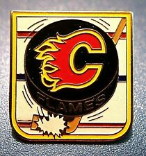 OFFICIAL CALGARY FLAMES NHL HOCKEY STICK PUCK SOUVENIR PIN BADGE CHAMPIONS