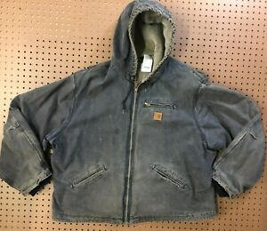 MENS 3XL - Carhartt J141 Sandstone Sherpa Quilt Lined Hooded Jacket
