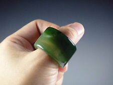 Chinese Green Chalcedony Agate Man Men Archer's Thumb Ring Banzhi Rare