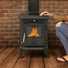 Wido BLACK WOODBURNING STOVE 4.5KW EFFICIENT CAST IRON LOG BURNER FIREPLACE