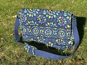 Vera Bradley Laptop Messenger Bag Blue, Black, Green, Purple, Floral, Excellent