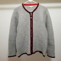 Vtg Wool Sweater Handmade Germany Full Zip Cardigan XL Womens 54 Coat of Arms