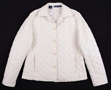 Ralph Lauren Womens Pure White Diamond Quilted Insulated Snap Button Jacket L