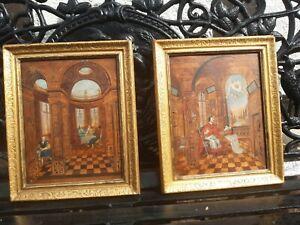Zwei seltene Deutsche Renaissance Margueterie Gemälde um 1680
