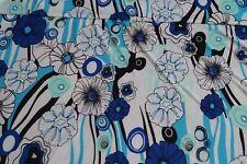 Jersey Stoff weiß Blumen türkis-blau #01037