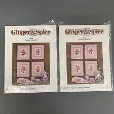 2 Ginger & Spice Spring Quartet by Ginger Gouger Botanical Pink Yellow Flowers