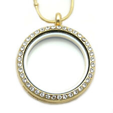 30mm Gold Crystal Living Memory Locket For Floating Charm