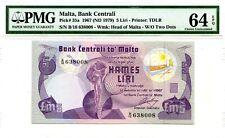 MALTA 5 LIRI 1967 ND 1979  BANK CETRALI PICK 35 a LUCKY MONEY VALUE $150