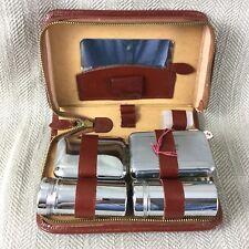 Vintage Vanity Set Travel Case Grooming Real Leather Chrome Mid Century