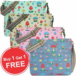 Ladies Canvas Mushroom Print Cross Body Messenger Bag Women Shoulder Tote Handba
