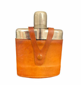 Vintage Hip Flask, Glass, Silver Toned Double Capped Leather Wrapped Case
