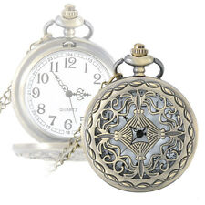 Retro Classical Hollow Cross Alloy Quartz Pendant Chain Fob Pocket Watch Gifts