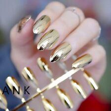 Mirror Silver False Nails STILETTO Point Metallic Acrylic Nail Tips 24/12/1 pcs