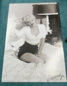 "MARILYN MONROE 1990 Poster 24"" X 36"" Sitting Bed Gentlemen Prefer Blondes Photo"