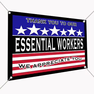 """Essential Wotkers Thank You Vinyl Banner Sign 30"""" x 24"""", Backdrop 2.5'x2'"""