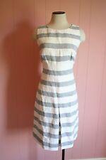 JCrew Stripe Basket Weave Dress 12 White Navy Linen Cotton