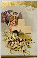 Vintage A Glad Easter Day Postcard Gold Embossed Flowers Angel Cross Unposted