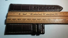 Longines 21/18mm Brown Upside Alligator Leather, white stitch, slightly padded