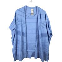 Chicos Size 3 L/XL Textured Striped Ruana Blue Cardigan 2-Piece Sweater Twin Set