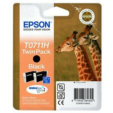 Original Epson T0711H DuraBrite Ultra Twin Pack Black Ink Cartridge, TO711H