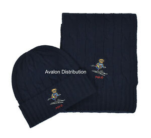 Polo Ralph Lauren Navy Cable Knit Ski Bear Hat & Scarf Gift Set New