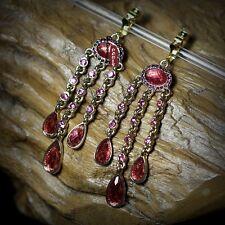 Boucles d`Oreilles Clips Longue Tassel Fringe Rose Vintage Retro Original A8