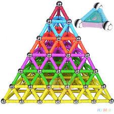 23 MAGNETFORMEN 12 steel ball 15 magnetic rod Dreiecke Magnetbaukasten Spielzeug