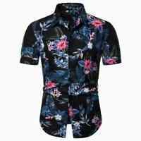 Stylish men's slim fit dress shirt floral t-shirt tops casual luxury