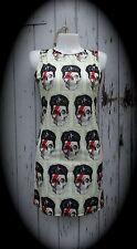 David Bowie Cráneo Vestido Talla 8 10 12 - - Wiggle como alternativa, impresión digital ceñido al cuerpo