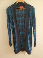 Missoni for Target Open Front Cardigan Blue Wool Blend Chevron Open Knit Medium