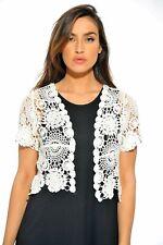 401147 WHT 2x Bolero Shrug/women Cardigan White Floral Crochet Back to School