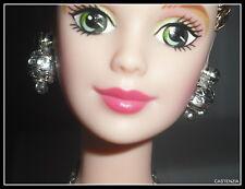 JEWELRY MATTEL BARBIE DOLL ANTIQUE ROSE FAUX DIAMOND SILVER EARRINGS ACCESSORY