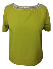 Womens TOPSHOP Lime Green Jewel Neck Sleeve Embellished Top - UK Size 6 8 10
