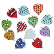 10 Wood Novelty Mixed Summer Leaves design Sewing Craft Buttons 24mm Free UK P&P