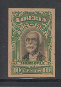 Liberia # F13 IMPERF COLOR TRIAL in GREEN On Gray Paper 1903 Registration Set