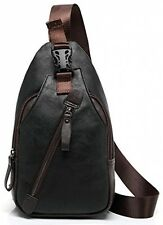 FreeMaster Men's Vintage Pu Leather Shoulder Bag Sling Chest Bags Crossbody Bag
