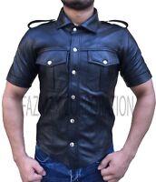 Mens Hot Genuine Real Black Lamb/Sheep LEATHER Police Uniform Shirt BLUF Gay