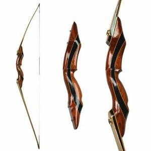 "62"" Longbow 25-55lbs Takedown Traditional Bow Wooden Riser Recurve RH Hunting"