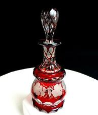 """BOSTON SANDWICH #3162 CUT GLASS RUBY STAINED ANTIQUE 6 5/8"""" COLOGNE BOTTLE 1880-"""