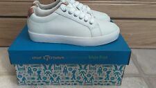 Brand New Boys Girls Clarks White Leather Lace Up Trainers Size 1.5G Brill Rap