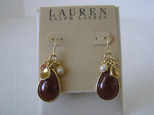 Lauren Ralph Lauren Gold Tone Carnelian Teardrop Earrings with Charms