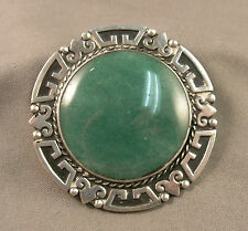 Vintage Mexican Sterling & Green Onyx Aztec Border Large Round Brooch Signed 60s