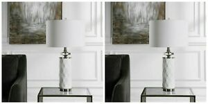 """TWO MODERN EMBOSSED CERAMIC XL 29"""" TABLE LAMP POLISHED NICKEL METAL UTTERMOST"""