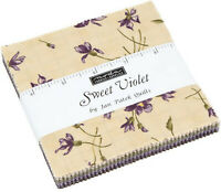 "Sweet Violet Moda Charm Pack 42 100% Cotton 5"" Precut Fabric Quilt Squares"
