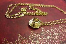 Vintage Style Alice Inspired Mini Gold Tea Cup Cute Necklace wedding favour