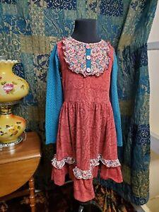 Matilda Jane 8 Teresa Lap Dress Friends Forever Blue Red Paisley Long Sleeve