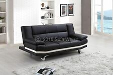 BLACK LEATHER SOFA BED MILAN ONLY £199, FREE DELIVERY, 2 FREE CUSHIONS