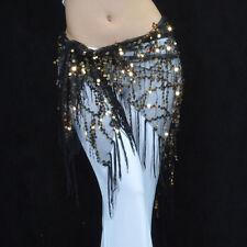C322 Bauchtanz Kostüm Hüfttuch Hüftgürtel Münzgürtel mit Fransen